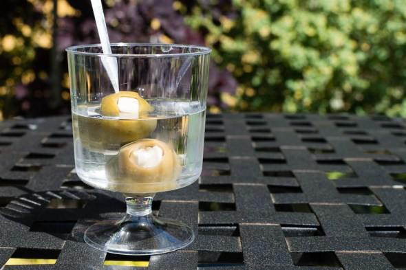 Vodka Martini with Gourmet Blue Cheese-Stuffed Olives
