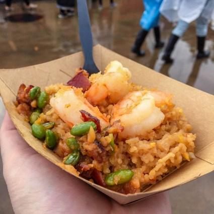 Crispy Shrimp Fried Rice with Garlic, Bacon and Edamame