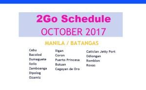 2go travel schedule october 2017