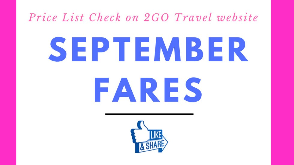 2go ticket rates for september 2017