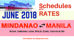 2018 June Fares Schedules 2Go Mindanao