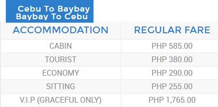 Roble Cebu to Baybay Ticket Rates