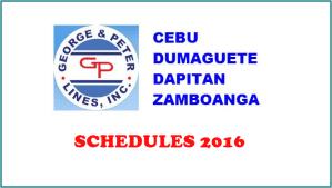 George and Peter Shipping Schedules for Cebu-Dumaguete-Dapitan-Zamboanga