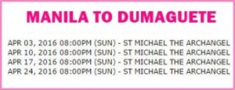 Manila to Dumaguete Shipping Schedule April 2016.