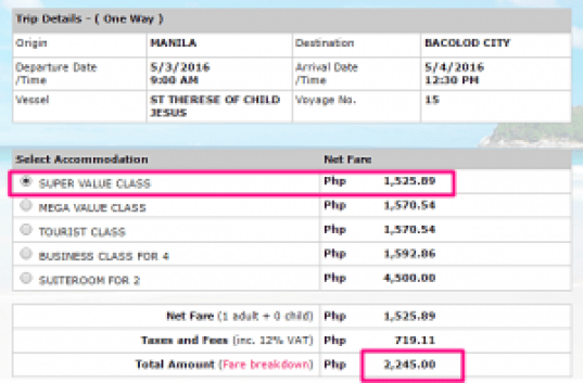 Manila-Bacolod May 2016 Ticket Rate