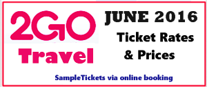 2Go Travel Ticket Prices for JUNE 2016 to BACOLOD, CEBU, DUMAGUETE, ILOILO and VICE VERSA