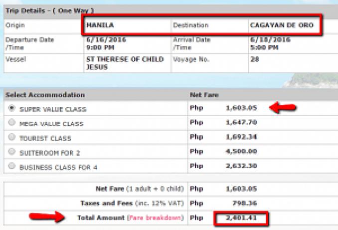 Manila to Cagayan De Oro Ticket Price June 2016