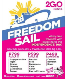 2Go Travel FREEDOM DAY PROMO TICKETS 2016