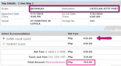 Batangas to Caticlan Promo Ticket