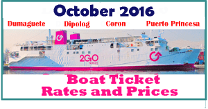 Superferry October 2016 Boat Rates to DUMAGUETE, DIPOLOG, CORON, PUERTO PRINCESA, VICE VERSA