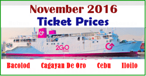 Superferry November 2016 Ticket Prices BACOLOD, CEBU, ILOILO, CAGAYAN DE ORO and VICE VERSA