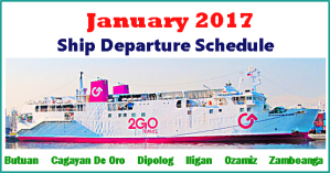 January 2017 2Go Travel Ship Schedule Manila to and from Mindanao