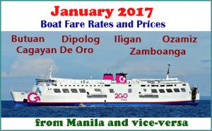 January 2017 Superferry Boat Fare Butuan, Cagayan De Oro, Dipolog, Iligan, Ozamiz, Zamboanga