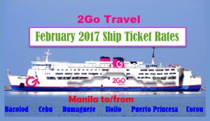 Superferry February 2017 Boat Fare Manila to or from the Visayas
