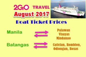 August 2017 2Go Travel Boat Fares to/from MANILA and BATANGAS