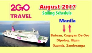 2Go Travel August 2017 Boat Trips Manila to or from Mindanao
