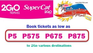 Buy 2Go Travel Sale Tickets 2017 at Philippine Travel Mart: Pay in Cash
