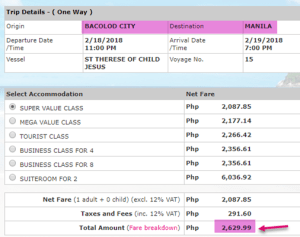 2go-travel-bacolod-to-Manila-february-2018-ticket-price