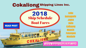 Cokaliong Shipping 2018 Trip Schedule, Ticket Prices: Visayas & Masbate Trips