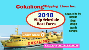 Cokaliong Ship Schedule and Boat Fares 2018 Visayas to Mindanao