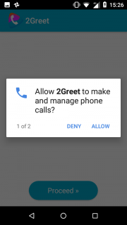 4. Allow 2Greet to make  and manage phone calls