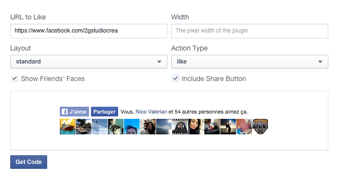 Configuration bouton like facebook