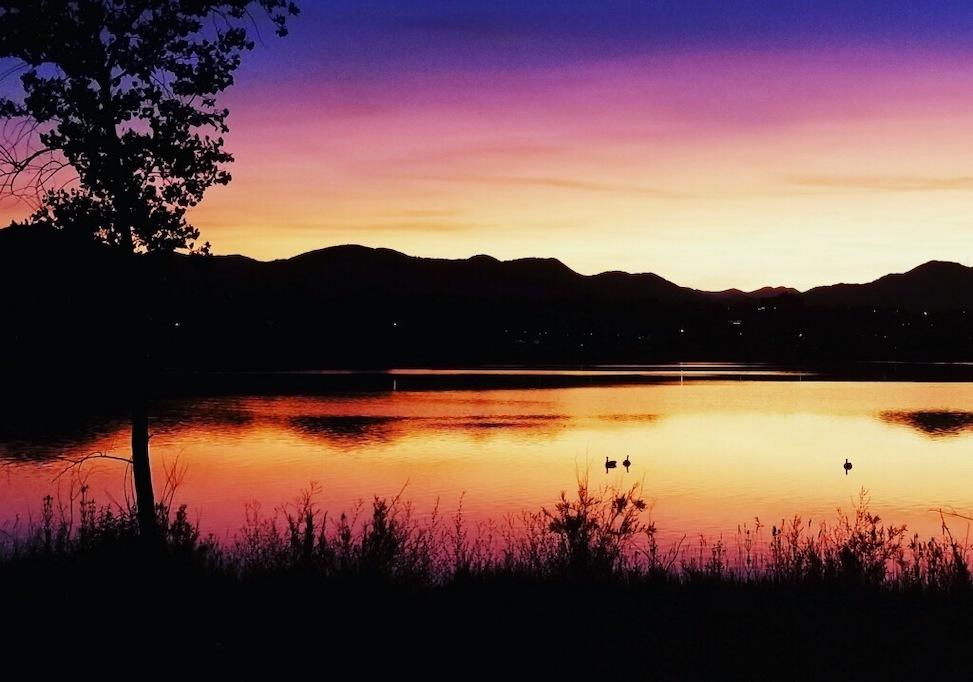 fly fishing at dusk