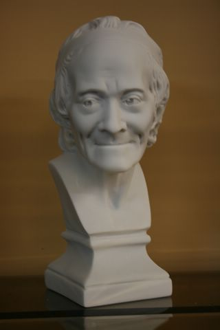 Voltaire's smile - Bust of Voltaire - he wears the <strong>smile of reason</strong>, and carries within himself the calm assurance that the world is understandable, orderly, and amenable to adjustment by rational men
