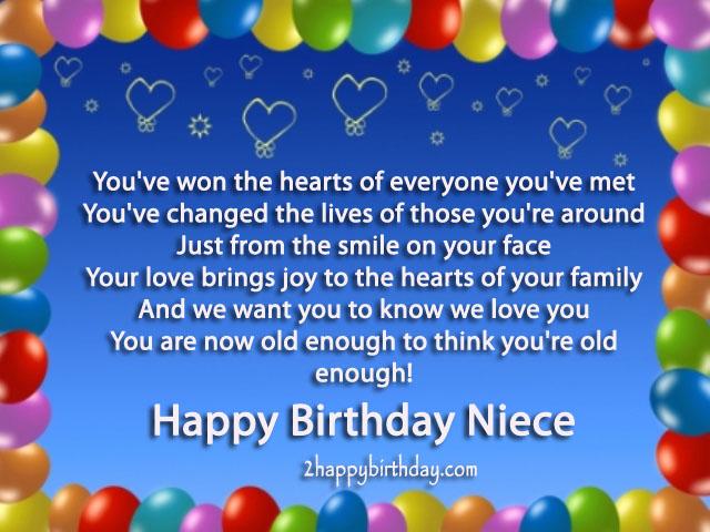 Niece Birthday Poem 2happybirthday