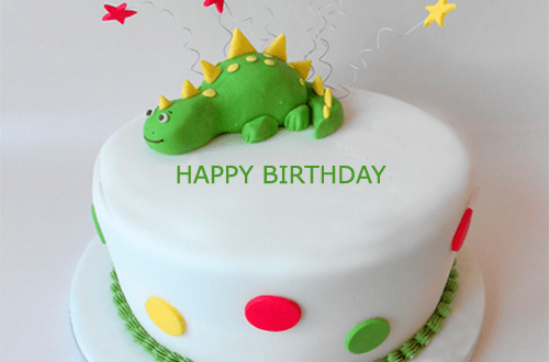 Dinosaur Happy Birthday Cake With Name Editor 2HappyBirthday
