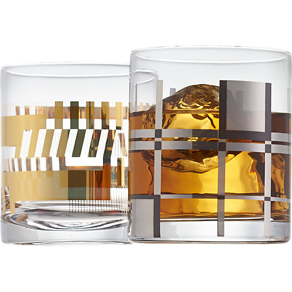 gold bars and platinum plaid double old-fashioned glasses