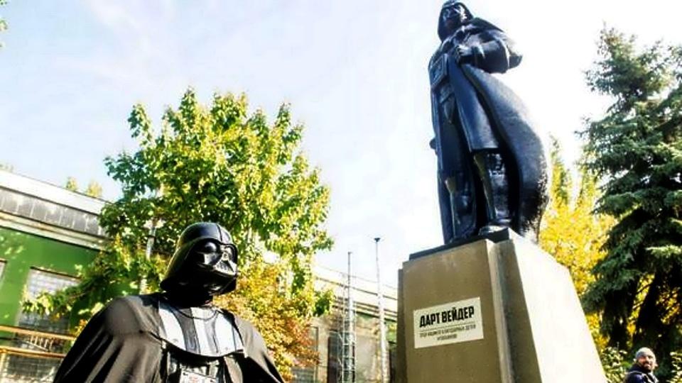 Darth Vader Als WLAN Hotspot Ukrainische Lenin Statue