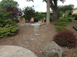 hardscape and gravel sitting area