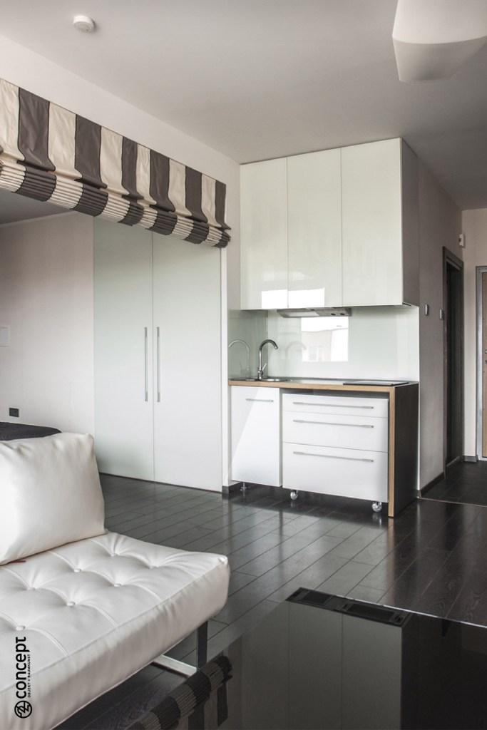 Offene kleine Küche in 1-Zimmer Wohnung