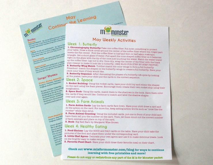 M is for Monster info sheets