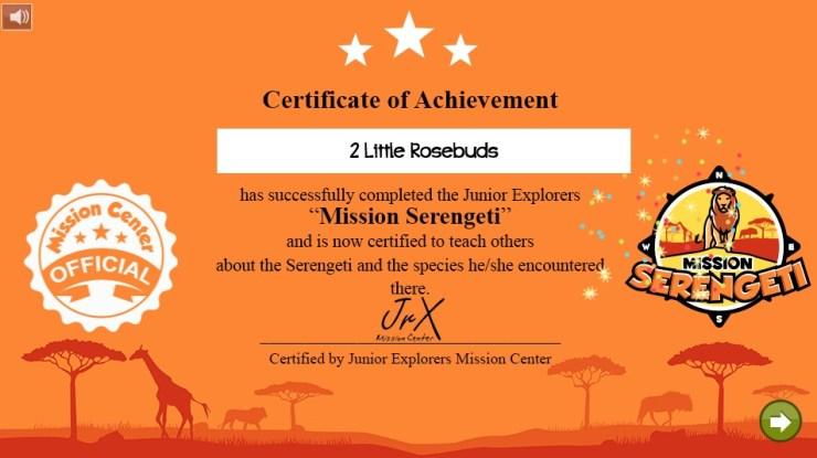 Junior Explorers certificate