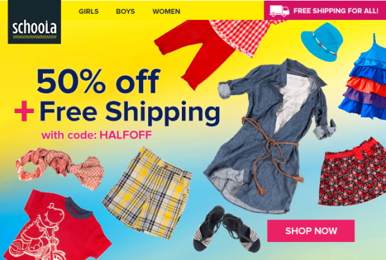 Schoola – $25 in FREE Clothes, Free Shipping, & 50% Discount