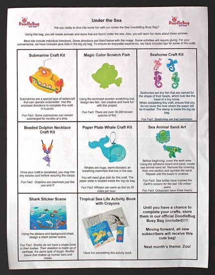 July 2015 Doodlebug Busy Bag