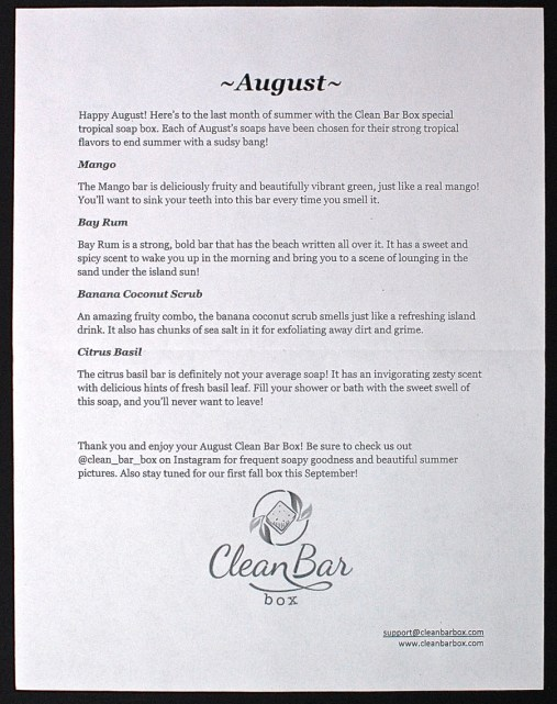 August 2015 Clean Bar Box