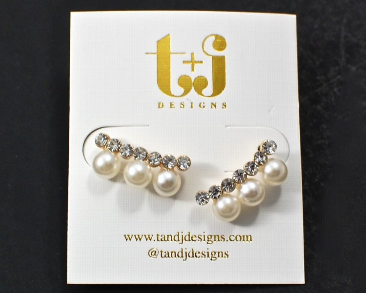 Triple pearl crystal bar earrings