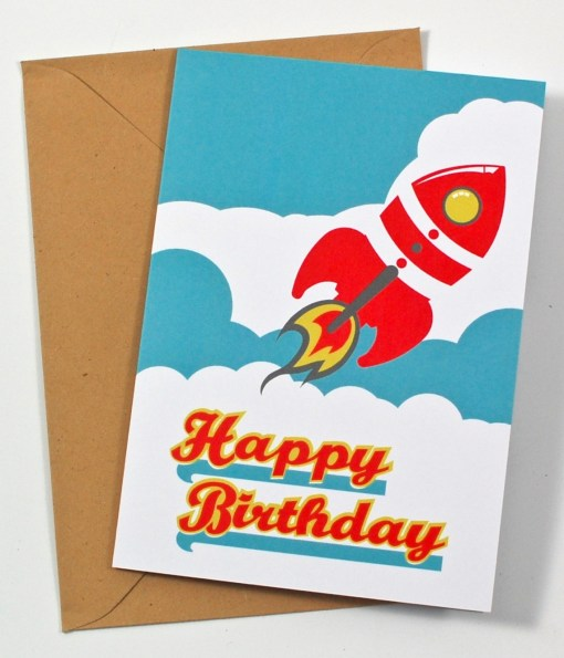 happy birthday rocket card