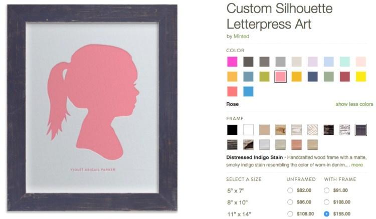 Minted letterpress silhouette print