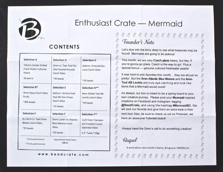 BeadCrate March 2016 mermaid box