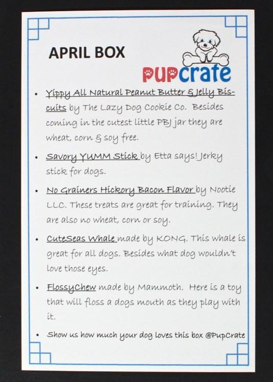 April 2016 Pup Crate review