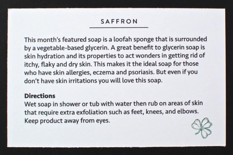 March 2016 Saffron soap review