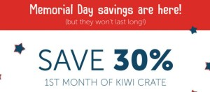 Kiwi Crate Memorial Day Sale – 30% Off + FREE Gift