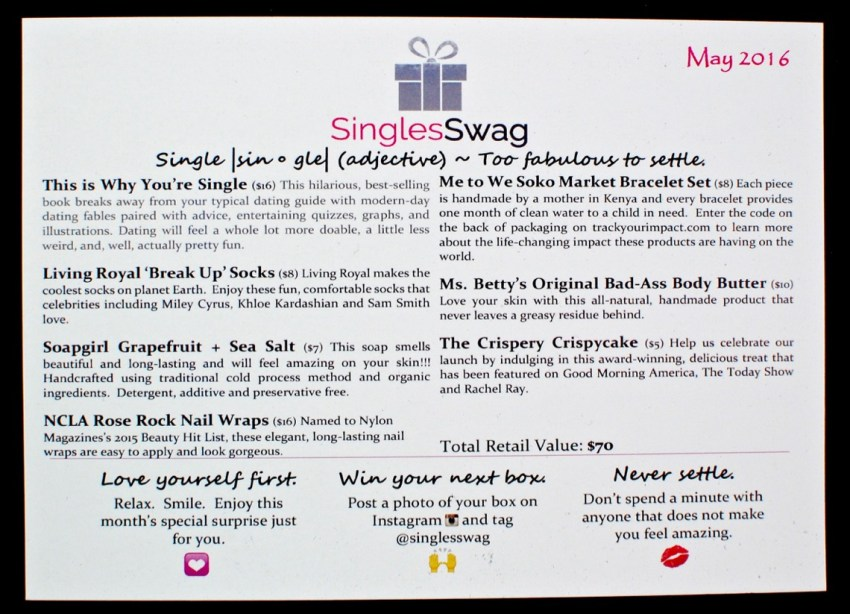 May 2016 Singles Swag review