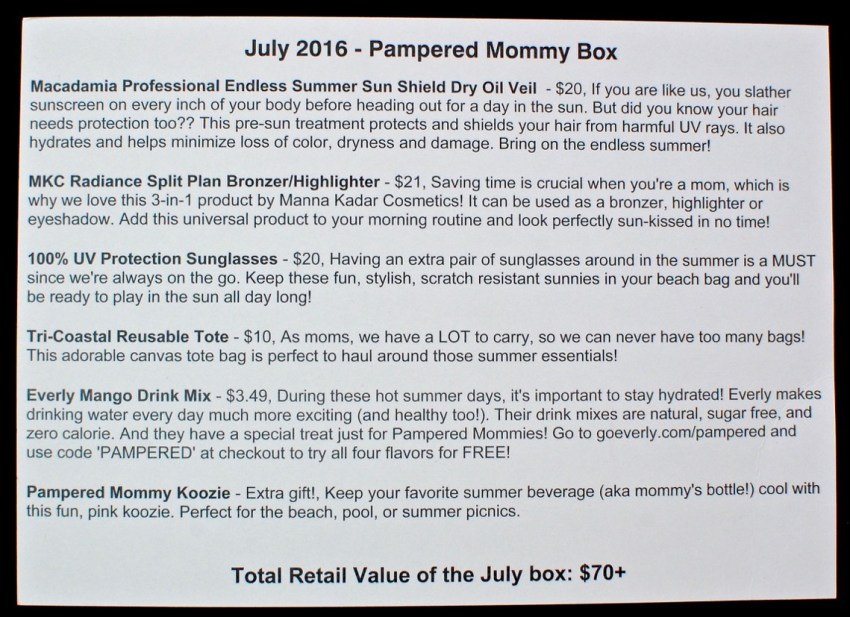July 2016 Pampered Mommy review