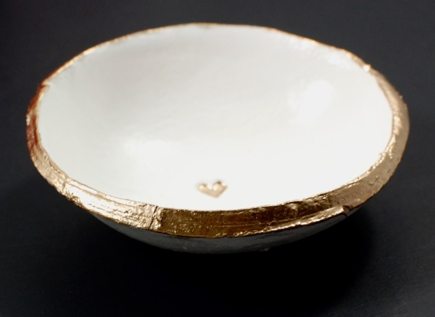 The Painted Press gold heart dish