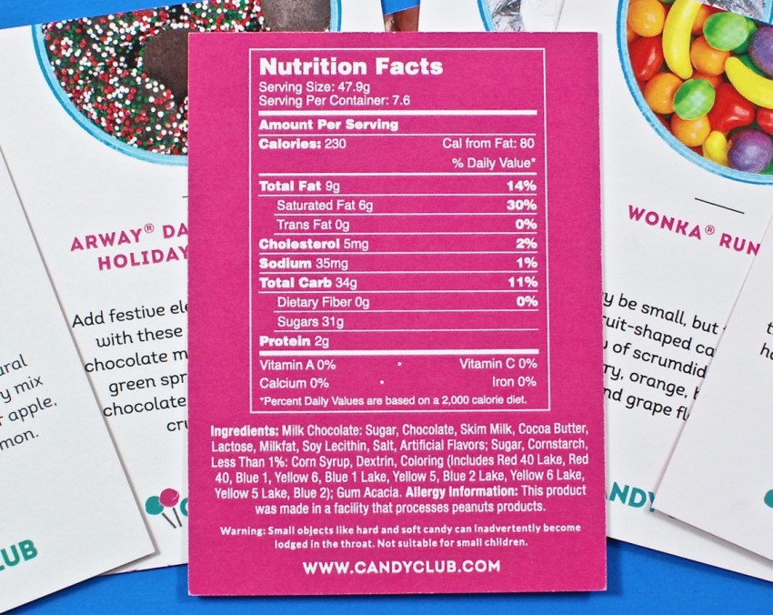 Candy Club nutritional info